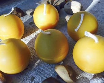 "Pure Beeswax Organic Sphere candles-set of 6 100% Pure Beeswax round candles-floating candles-unscented candles-1.5"" sphere-ball candle"