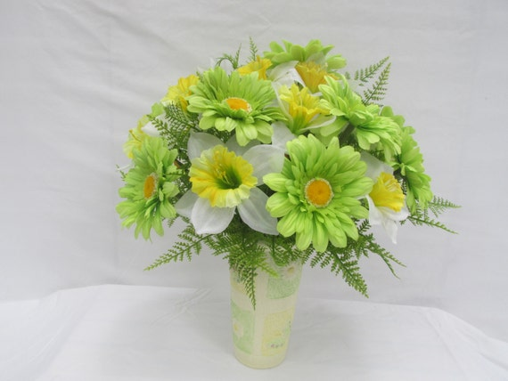 Lime green gerbera daisies and yellow and white daffodils and lime green gerbera daisies and yellow and white daffodils and ferns in a rock vase spring silk flowers artificial flowers faux flowers mightylinksfo Images