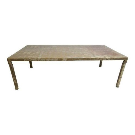 Vintage Chinese Chippendale Silver Leaf Foil Dining Room Conference Table