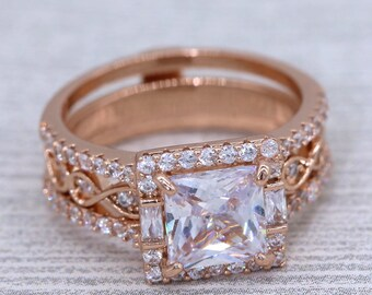 1.5 cttw Round Cut Infinity Insert Bridal Ring Set #1007