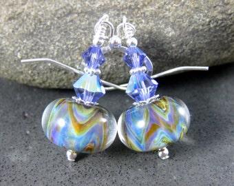 Purple Blue Green Glass Dangle Earrings, Simple Earrings, Boro Lampwork Earrings, Drop Earrings, Chevron Stripe Earrings, Colorful Jewelry