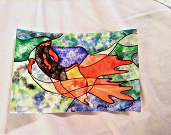 Watercolor Mosaic Fish Postcard