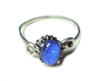 Opal triplet sterling silver ring