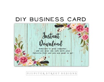 DIY Business Card-Wood Business Card-Instant Download
