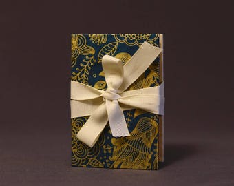 Gold Botanical on Blue Hardcover Handbound Instax Mini Film Accordion Album - Kraft Cardstock with Black Photo Corners