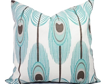 Two Feather Pillow Covers - Decorative Pillow Cover - Throw Pillow - Blue Feather Pillow - Brown Pillow - Blue Pillow Cover - Accent Pillow