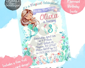 Mermaid Birthday Invitation / Watercolor Mermaid Birthday Invite / FREE Mermaid Thank You Card / Brown Mermaid Birthday Invitation