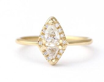 Diamond Cluster Ring, Pear & Trillion Diamond Ring, Cluster Engagement Ring, Rhombus Diamond Ring, Modern Engagement Ring, Pear Cut Diamond
