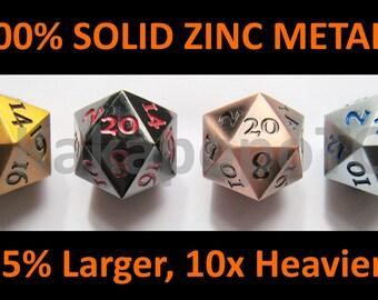 Metall Standard D20 Würfel Set von 4 Extra große Extra schwere DND Gold Kupfer Schwarz Silber Bronze Dungeons & Dragons