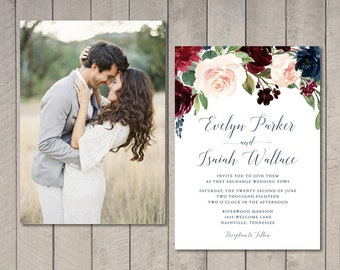 Blush & Burgundy Floral Wedding Invitation, RSVP, Details Card (Printable) by Vintage Sweet