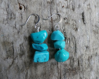 Chunky Western Glam- Howlite Turquoise Drop Earrings