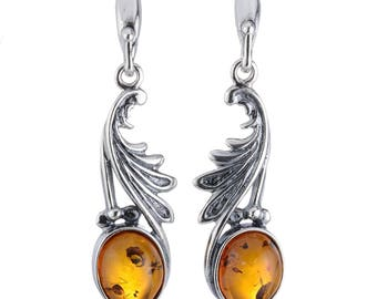 """Sterling Silver and Baltic Honey Amber Earrings """"Thea"""""""