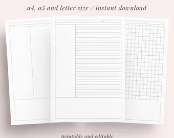 Cornell Method Student Note Taking Printable Paper Set | A4, A5 and Letter | School, College, University Notebook Studying| Instant Download