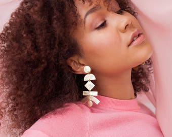 Statement gold leather stacked geo shapes earrings