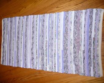 "Loom Woven Rag Rug 24 x 48"" Rectangular  Handmade Handwoven  Cotton  Rug Shades Purple and White Ready to Ship"