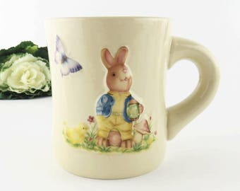 Vintage Easter Rabbit Mug, Puffy Relief Bunny Porcelain Glaze Ceramic Coffee Tea Cup Butterfly Mushroom Chick