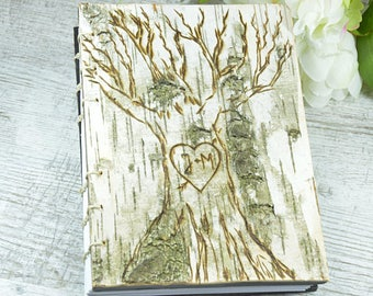 birch wood wedding guest book or journal - cabin guest book woodland rustic -wedding anniversary gift memorial guestbook