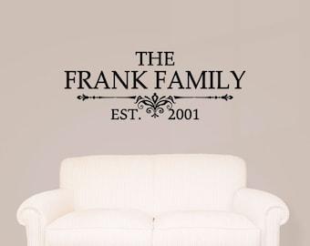 Custom Family Last Name Vinyl Decal - Family Vinyl Wall Art Decal, Family Name Vinyl, Personalized Vinyl, Home Decor, Living Room, 26.75x10