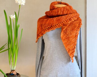 Hand Knit Shawl Warm Orange Spice Triangle Scarf Soft Light Wool Hand Dyed