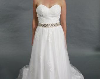 Sweetheart, Crystal Belt, Ivory Wedding Dress, wedding dress bridal gown