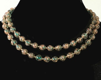 Double strand Venetian emerald sommerso choker necklace