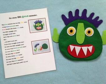 Go away Big Green Monster felt activity, felt story