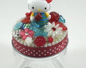 Assemblage Art Jar  --  Hello Kitty, Popsicle Princess