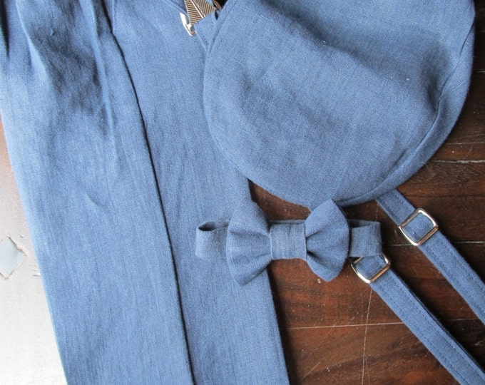Ring Bearer Outfit 4 Piece Set, Linen Ring Bearer Bowtie, Suspenders, Pant and Newsboy hat. Wedding Outfit for Ringbearer