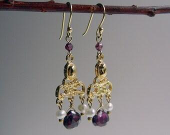 Garnet and Pearl Cassandra Earrings