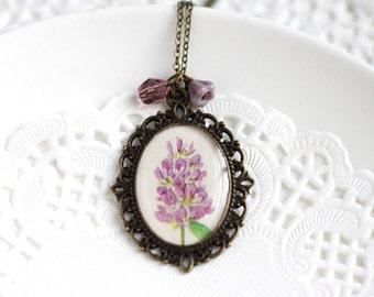 Lavender Spring Purple Flowers Nature Vintage Art Pendant Necklace