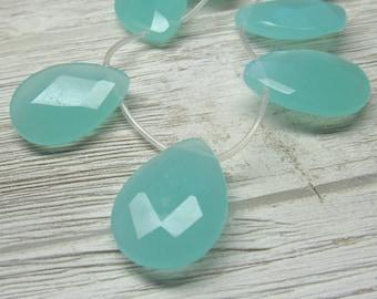 Perles de verre 30 X 22mm gros laiteux Aqua vert à facettes en forme de goutte - 4 pièces