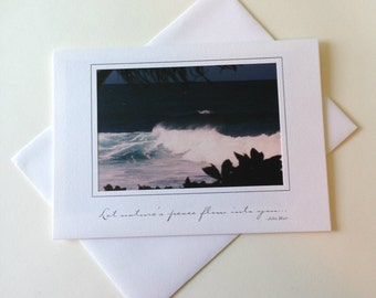 Deep Blue Photo Note Card Blank Inside Inspirational Quote