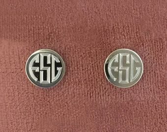 Round Sterling Silver Engraved Monogram Earrings 07950