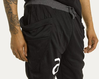 AB Athletic Joggers in Unisex Black with Banded Waist and Drawstring