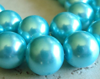 Glass Beads 16mm Shiny Opaque Aqua Blue Pearl Smooth Rounds - 4 Pieces