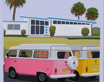 Mid Century Modern Eames Retro Limited Edition Print from Original Painting VW Vans