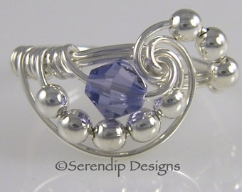 Silver Tanzanite Cluster Ring, Sterling Silver Swarovski Tanzanite Crystal Galaxy Statement Ring, Argentium Silver Ring