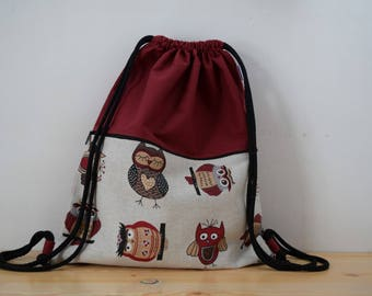 Owls backpack,red backpack,draw string backpack,owls bag,pockets bag,kawaii bag,string bag,strings backpack,owls backpack red,owl backpack