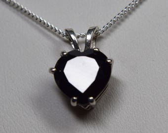 Black Spinel Heart Pendant, 4 plus carats, 10 mm, 925 Sterling Silver Pendant With 18inch Chain Included