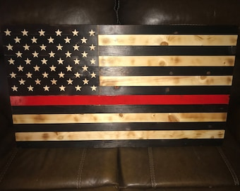 Rustic American Flag - Thin Red Line