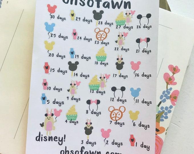 Disney Countdown Stickers