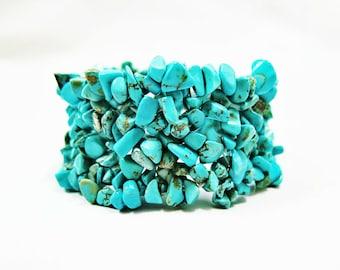 Turquoise Stone Bracelet, Raw Stone Bracelet, Blue Turquoise Bracelet, Women Bracelet, Raw Turquoise Bracelet, Raw Stone Jewelry