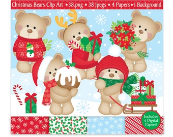 Christmas Clipart,Christmas Digital Papers,Christmas Bears Clip Art,Cute Bears,Holiday Clipart,Teddy Digital Clipart,Scrapbooking,Commercial