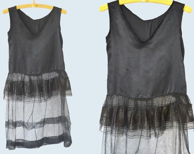 1920s Sheer Black Silk and Net Dress size XS