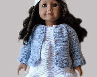 Instant Download - PDF Crochet Pattern - American Girl Doll Clothes 23 - Cardigan, dress and hat
