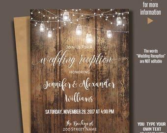 Printable Wedding Reception Invitation, Rustic Wedding Reception, Barn wedding Templates, Instant Download Self-Editable PDF A234
