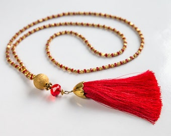 Red Tassel Necklace, Luxurious Necklace, Bead Necklace, Glass Necklace, Tassel Necklace, Gold Color Necklace