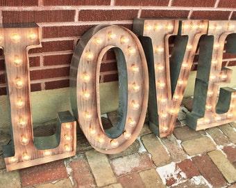 "36"" & Larger letter lights 4 Marquee Signs light up letters Industrial lighting Metal, Large led Battery Light Bulb Letter Sign Wall Light"
