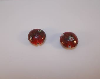 1 set of 2 20 mm lampwork beads