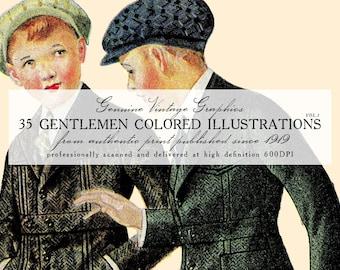 DIGITAL DOWNLOAD 35 Vintage Gentlemen Colored Illustrations Volume 1 (1919-1921)